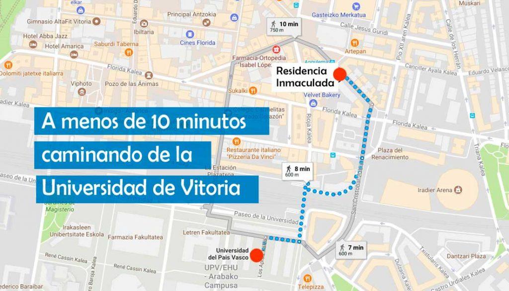 Plano de localización de la residencia universitaria de Vitoria Inmaculada